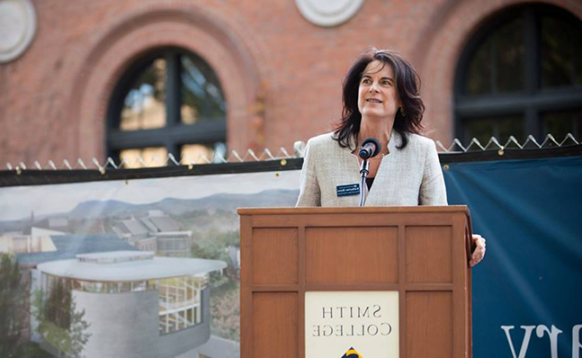 Katherine Rowe speaks at the Neilson groundbreaking