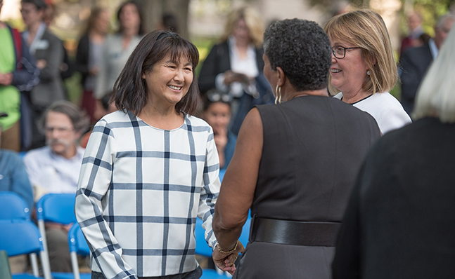 Alumna and Maya Lin  at the Neilson groundbreaking