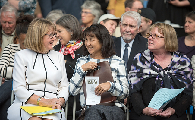 Deborah Duncan, Maya Lin and Kathy McCarney at the Neilson groundbreaking