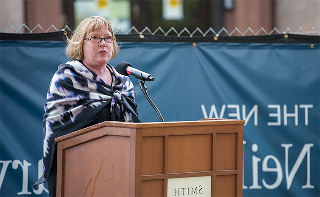 Deborah Duncan speaks at the Neilson groundbreaking